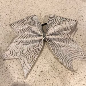 White & silver cheer bow